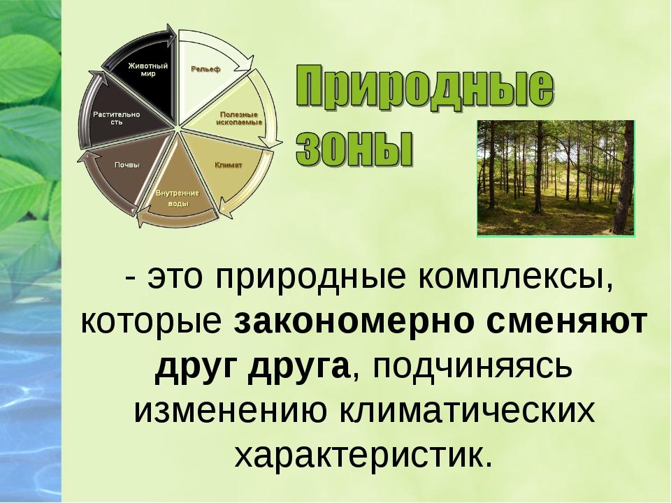 - это природные комплексы, которые закономерно сменяют друг друга, подчиняяс...