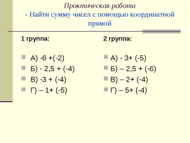 Практическая работа - Найти сумму чисел с помощью координатной прямой 1 групп...