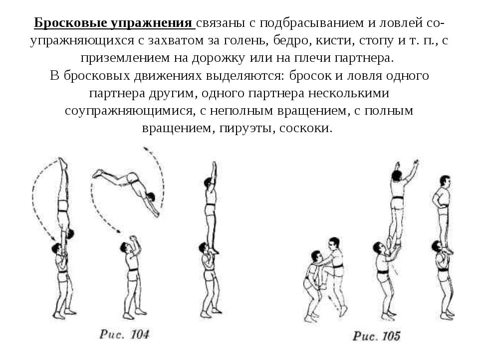 Бросковые упражнения связаны с подбрасыванием и ловлей со-упражняющихся с зах...