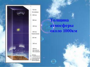 Толщина атмосферы около 1000км