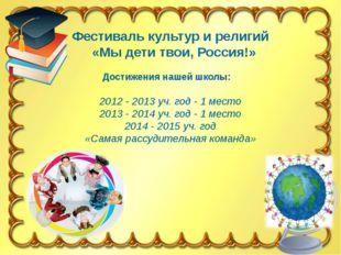 Фестиваль культур и религий «Мы дети твои, Россия!» Достижения нашей школы: