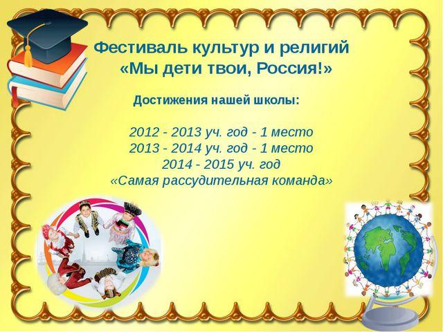 Фестиваль культур и религий «Мы дети твои, Россия!» Достижения нашей школы:...