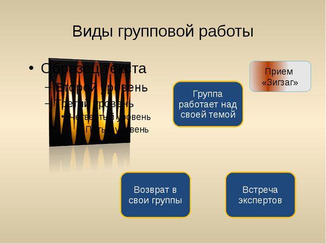 Виды групповой работы Прием «Зигзаг»
