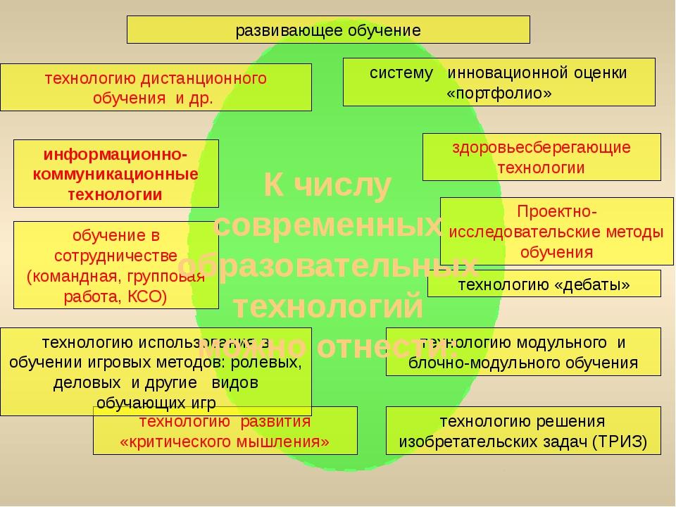 развивающее обучение Проектно-исследовательские методы обучения технологию «...