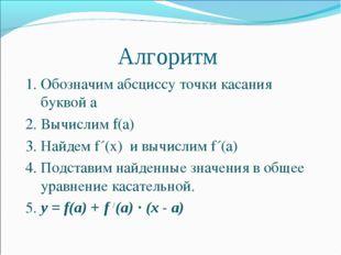 Алгоритм 1. Обозначим абсциссу точки касания буквой а 2. Вычислим f(а) 3. На