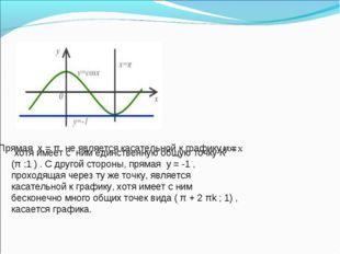 Прямая х = π не является касательной к графику у = хотя имеет с ним единствен