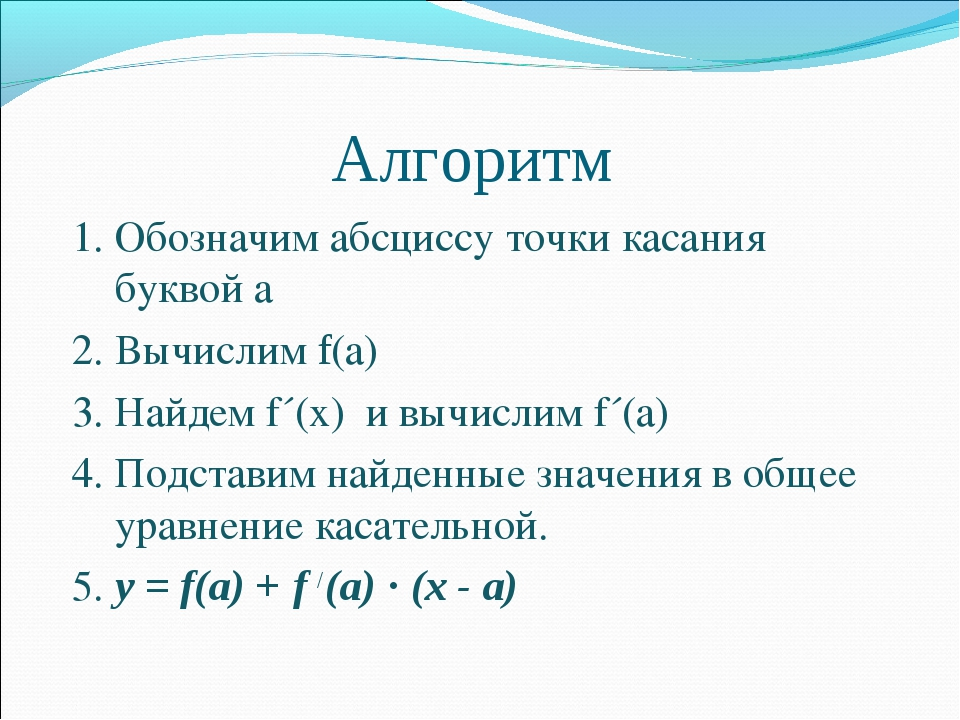 Алгоритм 1. Обозначим абсциссу точки касания буквой а 2. Вычислим f(а) 3. На...