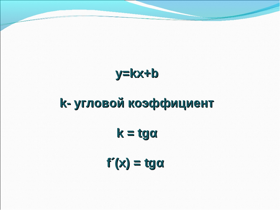 y=kx+b k- угловой коэффициент k = tgα f´(x) = tgα