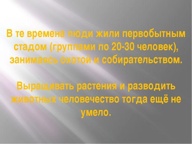 В те времена люди жили первобытным стадом (группами по 20-30 человек), занима...
