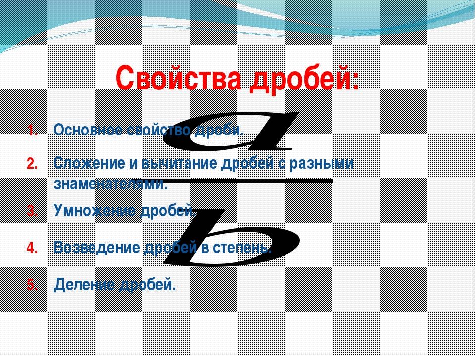 Свойства дробей: Основное свойство дроби. Сложение и вычитание дробей с разны...