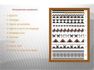 Ительменские орнаменты 1–Дороги 2–Запруды 3–Удача на рыбалке 4–Удача в охоте