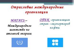 Отраслевые международные организации МАГАТЭ – Международное агентство по атом