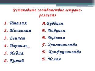 Установите соответствие «страна-религия» 1. Италия 2. Монголия 3. Египет 4. И
