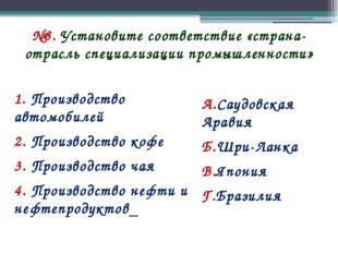 №8. Установите соответствие «страна-отрасль специализации промышленности» 1.