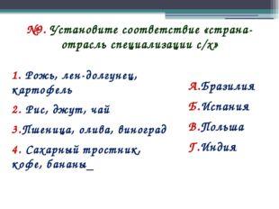№9. Установите соответствие «страна-отрасль специализации с/х» 1. Рожь, лен-д