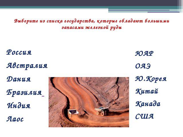 Выберите из списка государства, которые обладают большими запасами железной р...