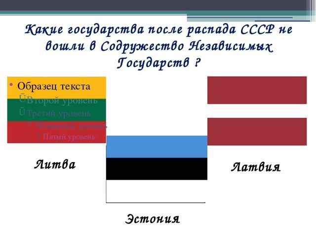 Какие государства после распада СССР не вошли в Содружество Независимых Госуд...