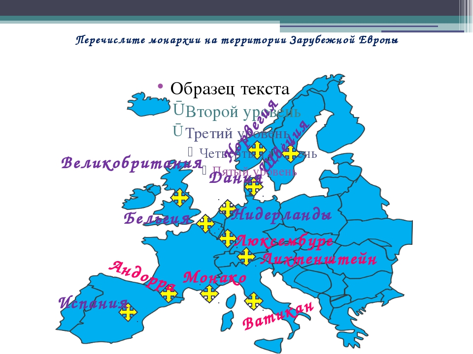 Перечислите монархии на территории Зарубежной Европы Норвегия Швеция Дания Ни...