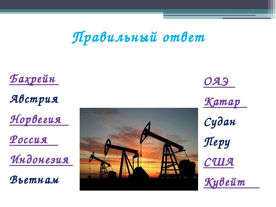 Правильный ответ Бахрейн Австрия Норвегия Россия Индонезия Вьетнам ОАЭ Катар...