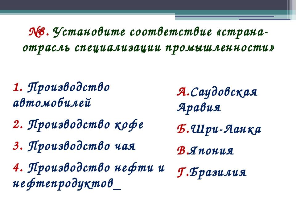 №8. Установите соответствие «страна-отрасль специализации промышленности» 1....