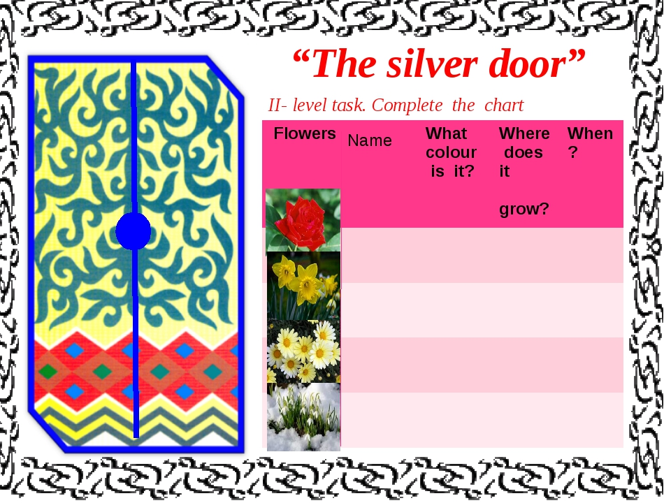 """""""The silver door"""" II- level task. Complete the chart Name FlowersWhat colour..."""