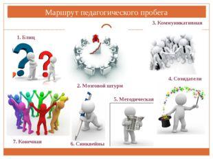 Маршрут педагогического пробега 1. Блиц 2. Мозговой штурм 3. Коммуникативная