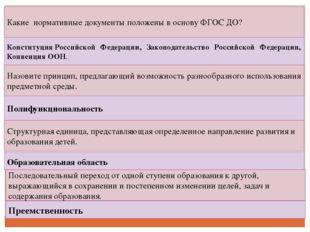 Какие нормативные документы положены в основу ФГОС ДО? КонституцияРоссийской