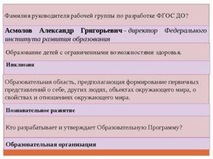 Фамилия руководителя рабочей группы по разработке ФГОС ДО? Асмолов Александр