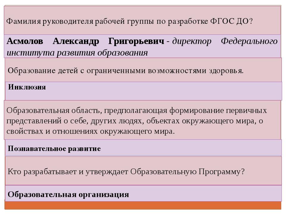 Фамилия руководителя рабочей группы по разработке ФГОС ДО? Асмолов Александр...
