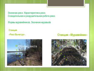 Значение реки. Характеристика реки. Созидательная и разрушительная работа рек