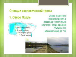 Станции экологической тропы 1. Озеро Подты Озеро старичного происхождения, в