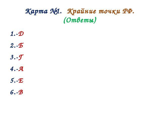 Карта №1. Крайние точки РФ. (Ответы) 1.-Д 2.-Б 3.-Г 4.-А 5.-Е 6.-В