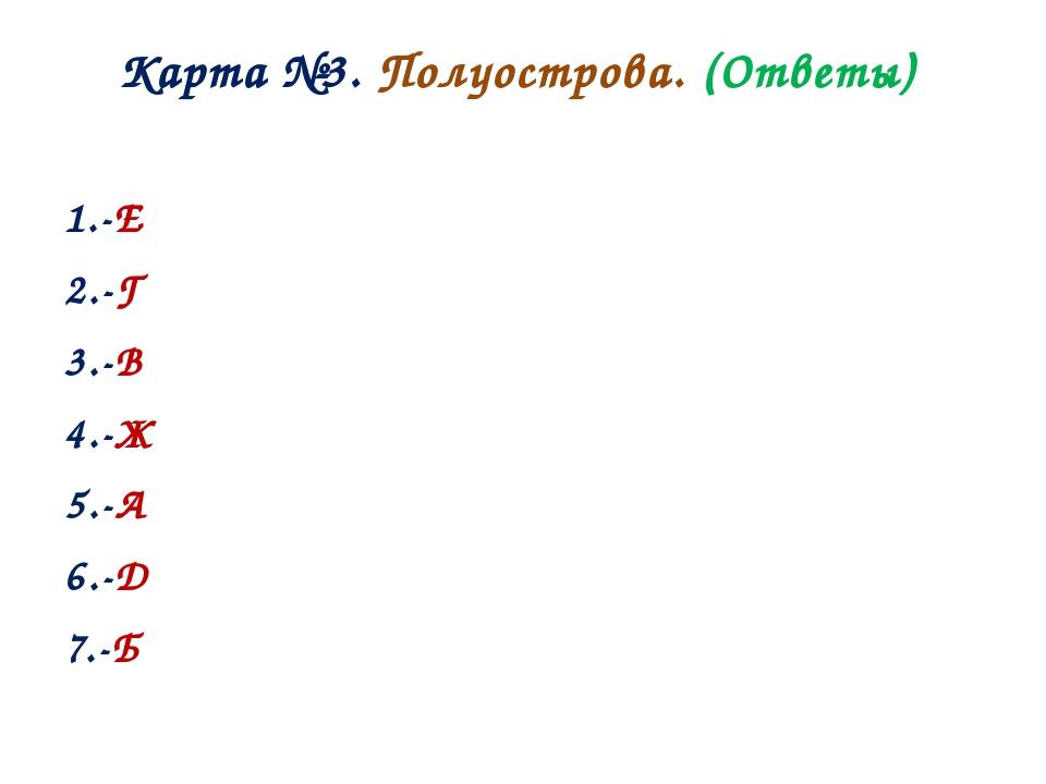 Карта №3. Полуострова. (Ответы) 1.-Е 2.-Г 3.-В 4.-Ж 5.-А 6.-Д 7.-Б