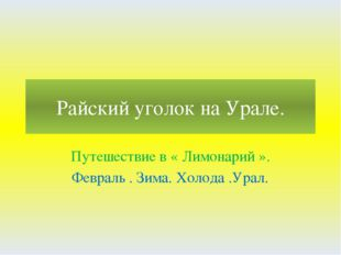 Райский уголок на Урале. Путешествие в « Лимонарий ». Февраль . Зима. Холода
