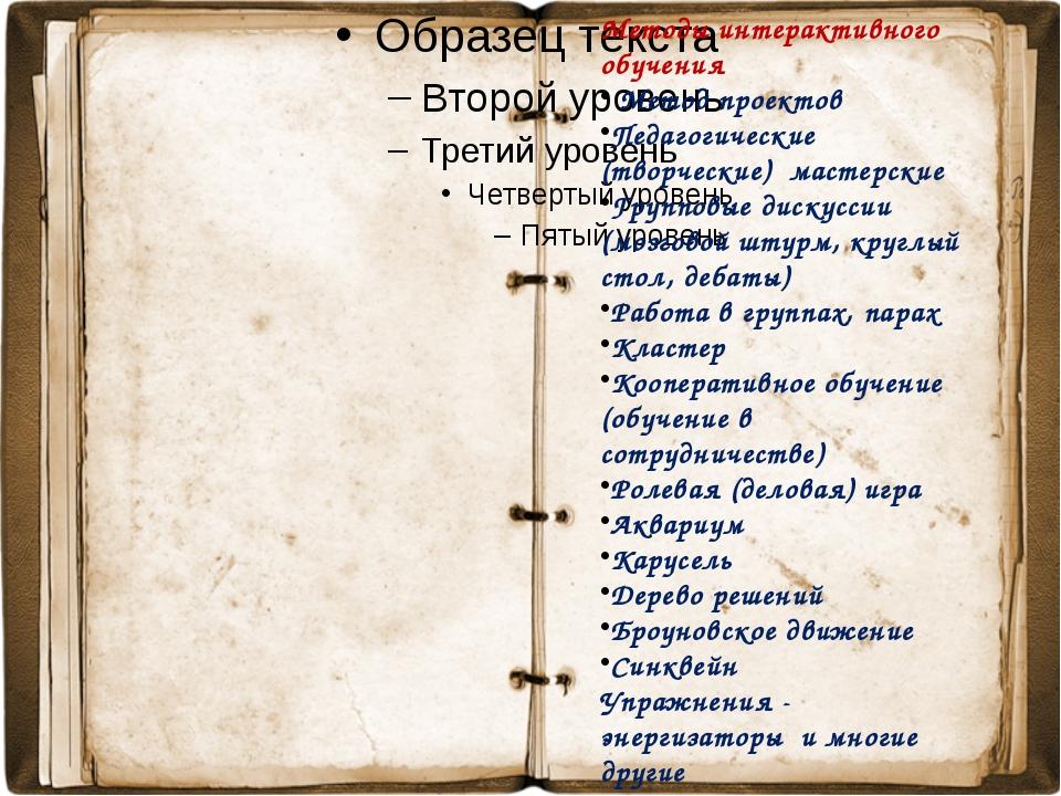 Методы интерактивного обучения Метод проектов Педагогические (творческие) ма...