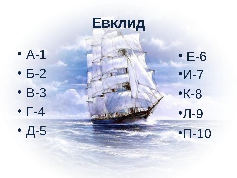 Евклид А-1 Б-2 В-3 Г-4 Д-5 Е-6 И-7 К-8 Л-9 П-10