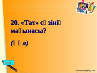 20. «Тат» сөзінің мағынасы? (Құл) КЕРІ www.themegallery.com