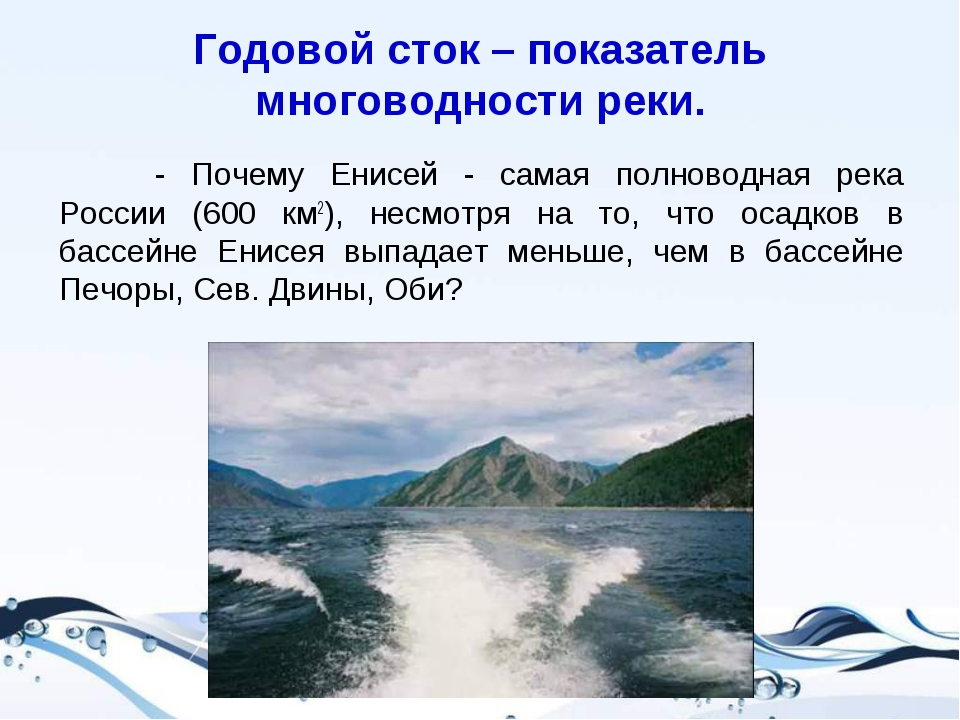 Годовой сток – показатель многоводности реки. - Почему Енисей - самая полнов...