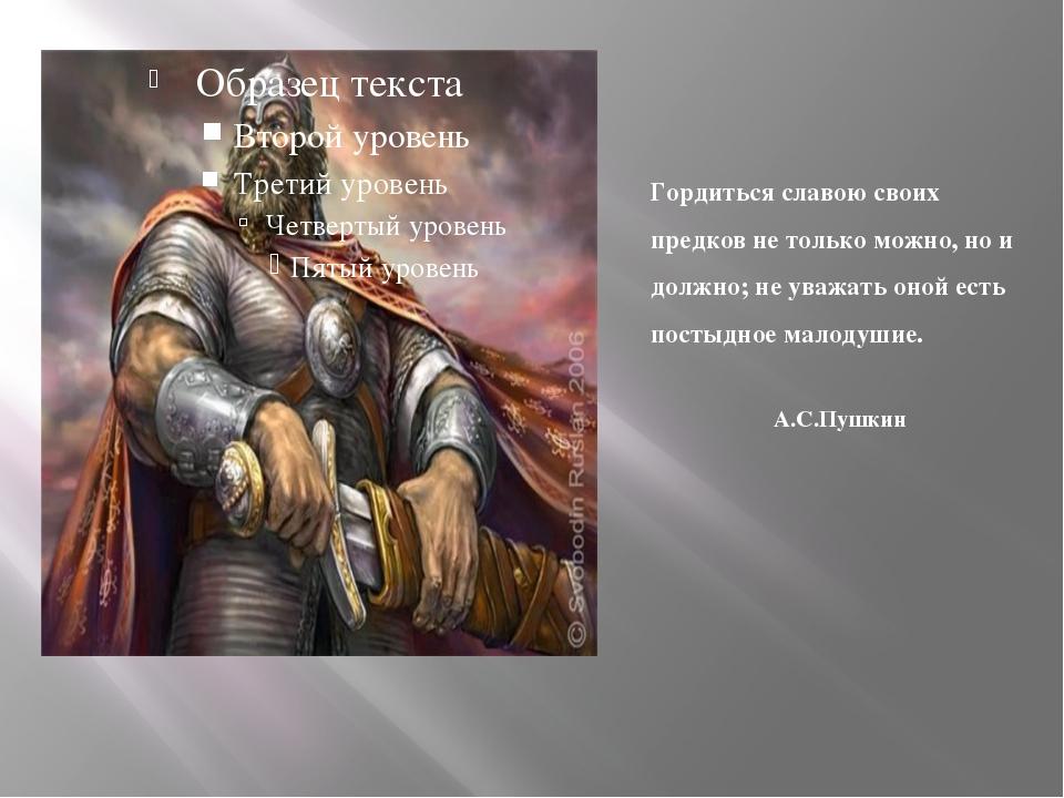 Гордиться славою своих предков не только можно, но и должно; не уважать оной...