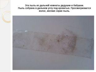 Эта пыль из дальней комнаты дедушки и бабушки. Пыль собрана в дальнем углу по