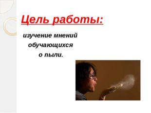 Цель работы: изучение мнений обучающихся о пыли.