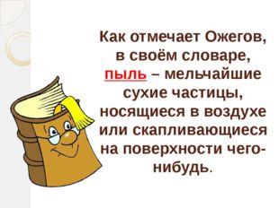 Как отмечает Ожегов, в своём словаре, пыль – мельчайшие сухие частицы, носящи