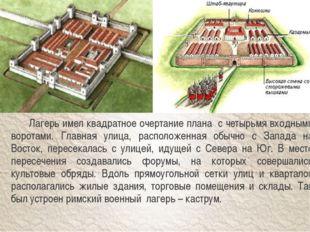 Лагерь имел квадратное очертание плана с четырьмя входными воротами. Главная