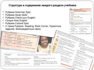 Структура и содержание каждого раздела учебника Рубрика Grammar Spot Рубрика