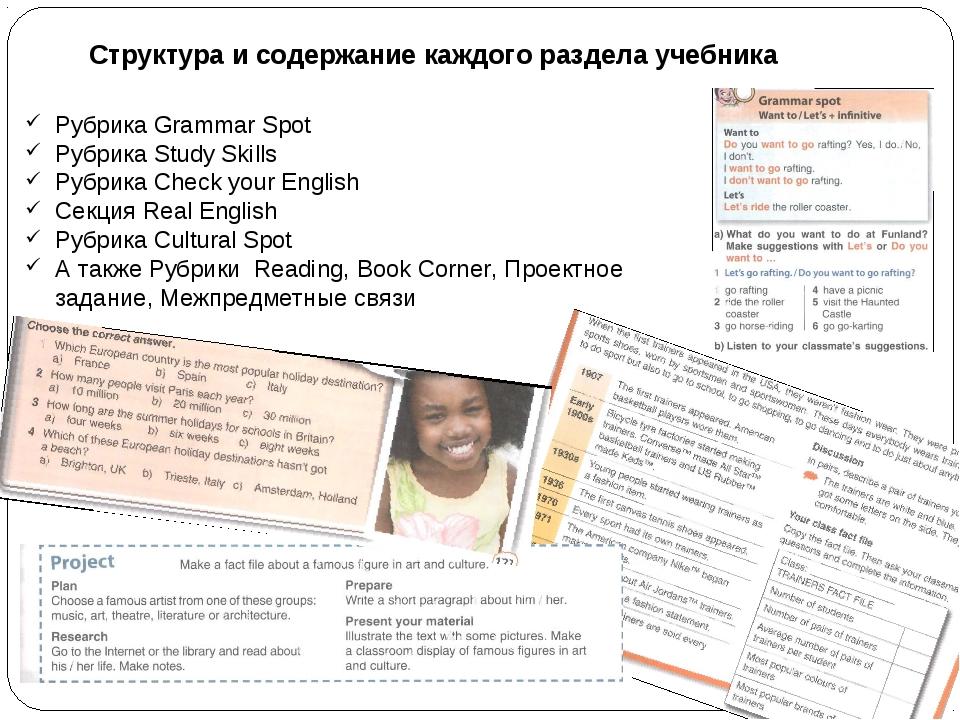 Структура и содержание каждого раздела учебника Рубрика Grammar Spot Рубрика...