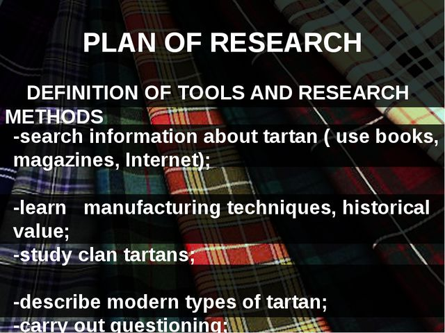 PLAN OF RESEARCH DEFINITION OF TOOLS AND RESEARCH METHODS -search informatio...