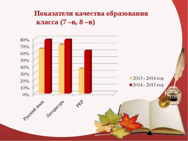 Показатели качества образования класса (7 –в, 8 –в)