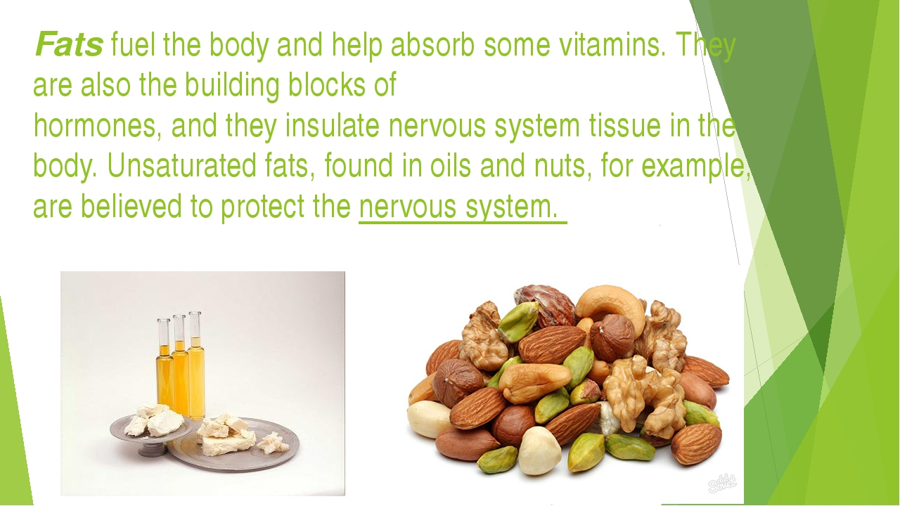 Fats fuel the body and help absorb some vitamins. They are also the building...