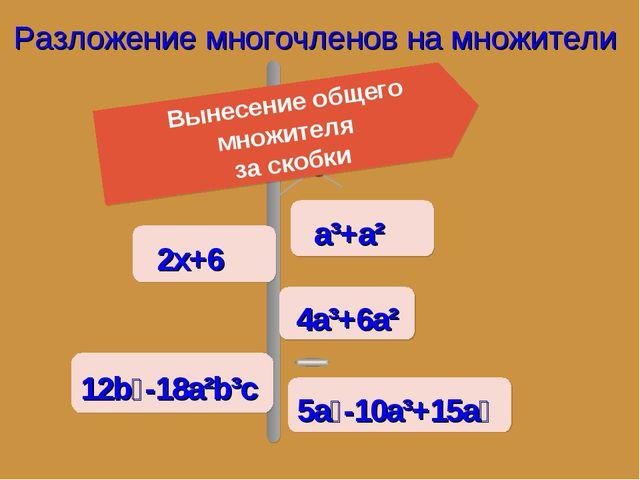 Разложение многочленов на множители Вынесение общего множителя за скобки 2х+6...