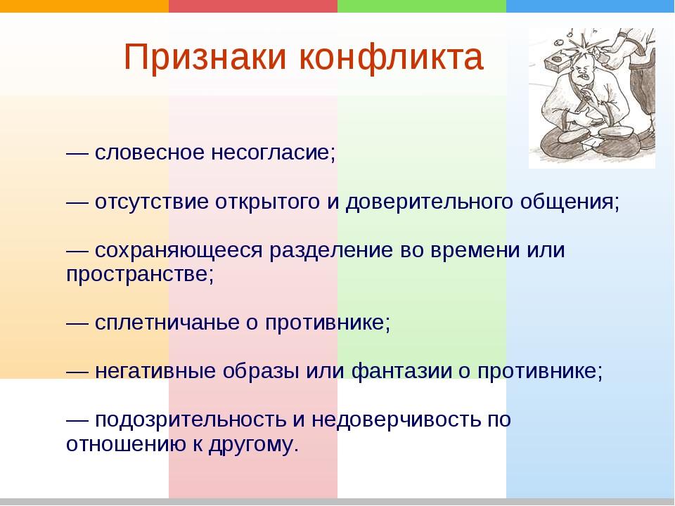 Признаки конфликта — словесное несогласие; — отсутствие открытого и доверител...